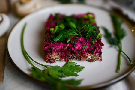 beautiful food photo of traditional russian beetroot salad