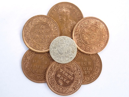 indian old silver and copper coins photo