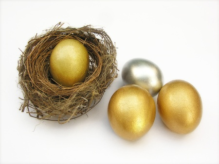 golden and silver eggs in nest
