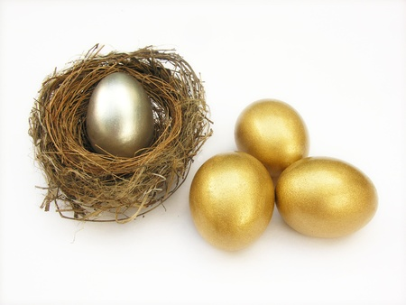golden and silver egg in nest          Stock Photo