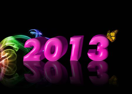 abstract 3d new year card 2013 Stock Photo - 15622169