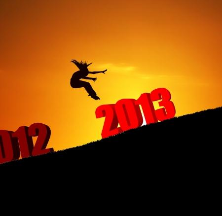 new year 2013 girl jumping photo