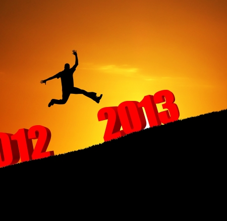 new year 2013 man jumping photo