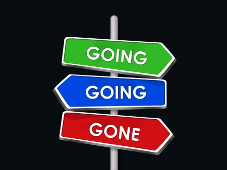 Going Going Gone 3 Three-Way Street Signs Directions Stock Photo - 16970854