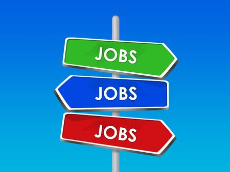 Jobs Street Signs Pointing Way to New Job Career Stock Photo - 16975747