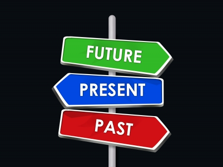 Past Present Future - 3 Colorful Arrow Signs Stock Photo