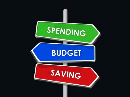 Spending Saving Budget Three Road Signs Arrows Stock Photo - 16975740
