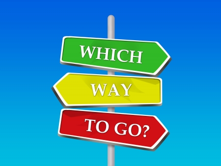Which Way to Go - 3 Colorful Arrow Signs Stock Photo - 16975757