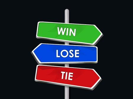 Win Lose Tie Three Arrow Signs Competition Game Stock Photo