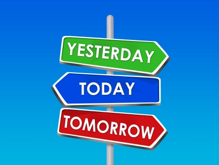 Yesterday Today Tomorrow Past Present Future Arrow Signs Stock Photo - 16975756