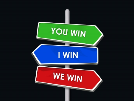 compromising: You and I Win We All Are Winners - 3 Way Street Sign