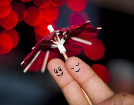 barbed hook wires: love finger couple Stock Photo
