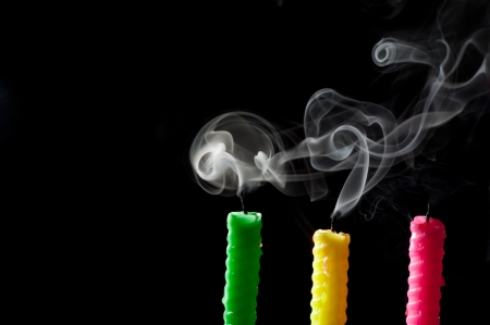 blow out: candle smoke Stock Photo
