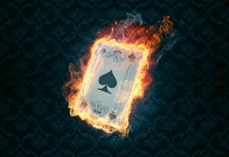 flaming poker card