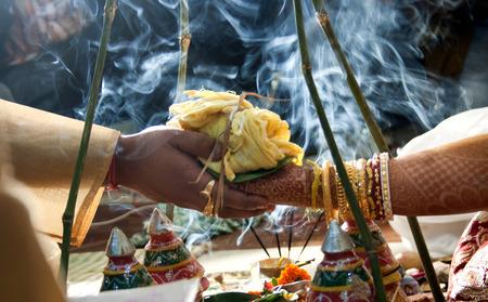 indian woman traditional: indian wedding ritual                             Stock Photo