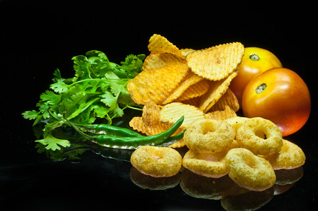 snacks with potato chips Stock Photo