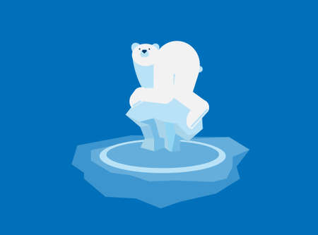 artic: polar bear floating on a sheet of ice