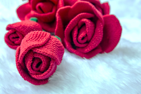 Rose knit with yarn photo