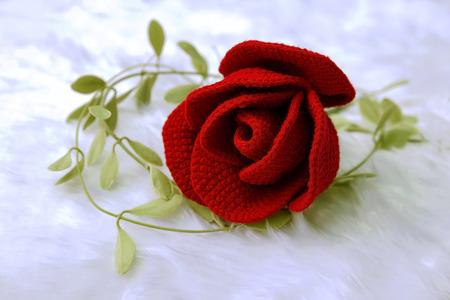 Rose knit with yarn handmade photo