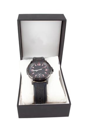 luxury watch: Black box with luxury watch on white background.