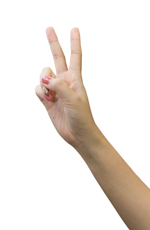 winning bid: Hand with two fingers up in the peace or victory symbol.