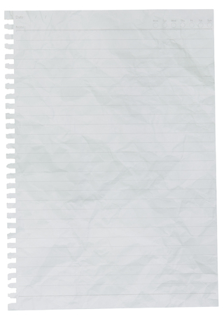 rumpled: rumpled lined sheet of paper isolated on white background