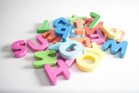 orthography: wood letters on the white background Stock Photo