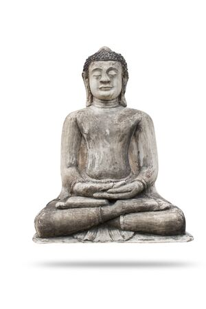 Buddha statue on white background. A metal artifact that is simple with clean lines