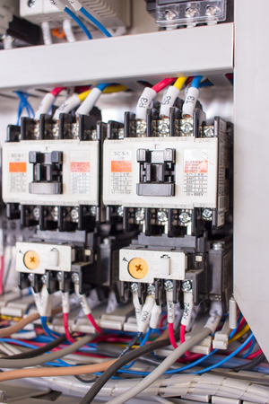 Wiring PLC Control panel with wires industrial factory Zdjęcie Seryjne