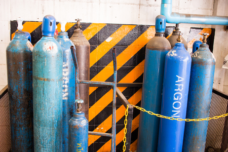 Acetylene and gas steel storage tanks for welding.
