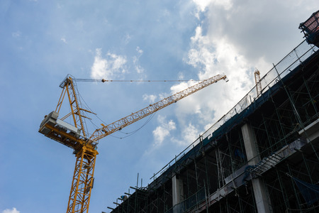 Industrial landscape, construction of high-rise buildings and cranes Zdjęcie Seryjne