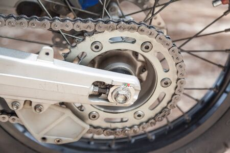 rear chain and sprocket of motorcycle wheel,slective focus Zdjęcie Seryjne