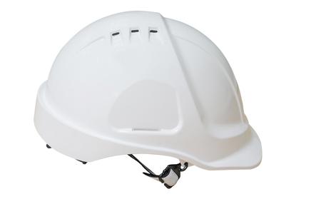 Plastic safety helmet isolated on white background.