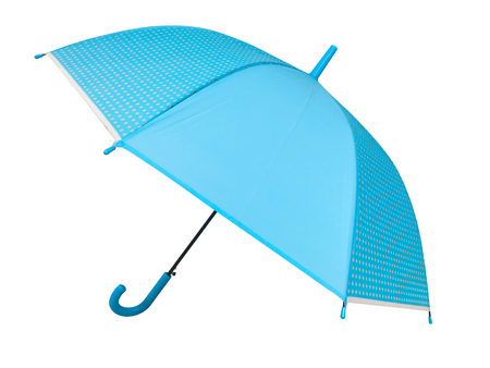 Blue umbrella on white background