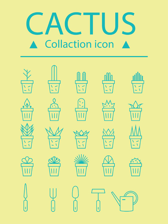 Set floral plants and blooming cactus in pots isolated on white background circuit vector illustration. Lot flowering plants and cacti on white background vector image