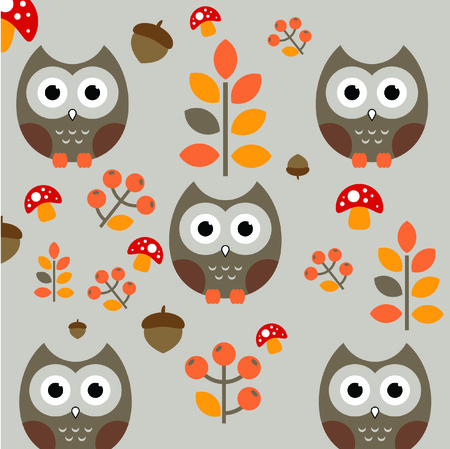 owls seamless pattern. Funny forest background.