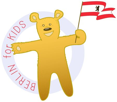 sweet bear illustration, mascot of Berlin city Ilustração