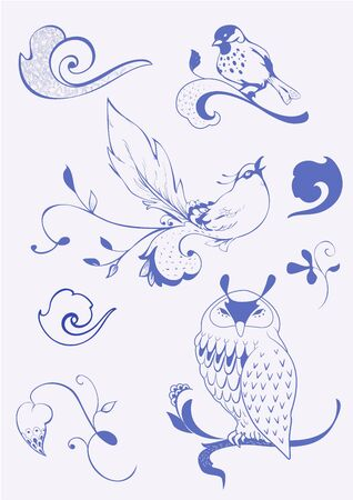 birds, waves and plants in creative style