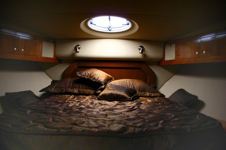 This is a bedroom in the yacht photo