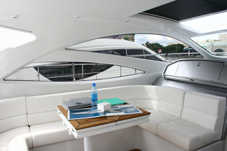 eclecticism: This is an interior of yacht in white