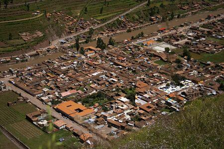 pisaq: Aerial view of peruvian village Pisaq