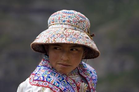 peruvian ethnicity: Peru, Colca Valley, Village Chivay, 3d April 2010, Little girl on local market