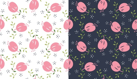 flowery: Seamless floral pattern with dark and light background as alternative