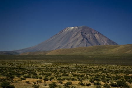 aguada: El Misti volcano located near Arequipa, Peru. The view from Salinas and Aguada Blanca National Reservation
