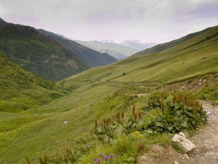 ushguli: Mounatin path in caucas near ushguli in georgia. Cloudy day