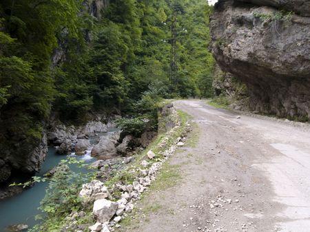 swanetia: Narrow mounatin sandy route. Caucasus mountain in Georgia.