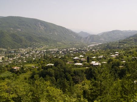Mounatin view in Georgia. Caucas. Summer sunny day. Stock Photo - 4821148