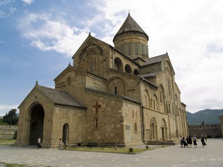 Old Orthodox cathedral in Mtskheta near Tbilisi. Summer sunny day. Stock Photo
