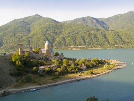 Aerial view on the Ananuri fortification and zhinvali lake in Georgia