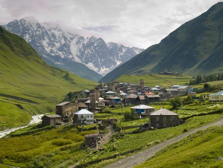Dark clouds, summer time caucasus mountain, Ushguli village Stock Photo - 4821402